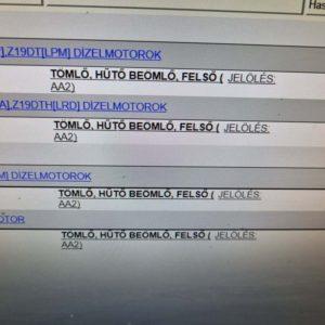 Opel Astra H, Zafira B felső vízcső