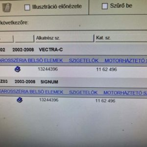 Opel Vectra C, Signum motorháztető szigetelés