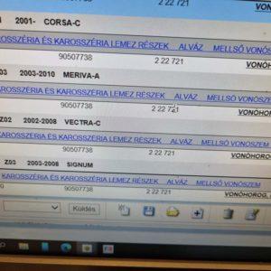 Opel Astra H, Astra G, Zafira A, Zafira B, Meriva A, Corsa C, Omega B, Vectra C, Vectra B, Signum, Corsa D, Meriva B vonószem