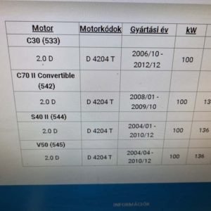 Volvo C30, C70, S40, V50 intercooler cső