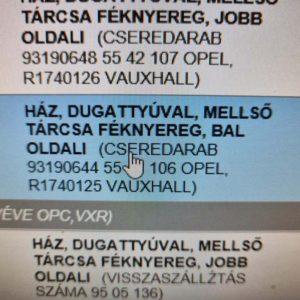 Opel Astra H, Zafira B, Meriva B bal első féknyereg munkahengerrel